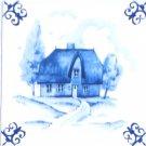 "Blue House Ox Tail Ceramic Tile Accent Kiln Fired Back Splash Delft Theme 4.25"""