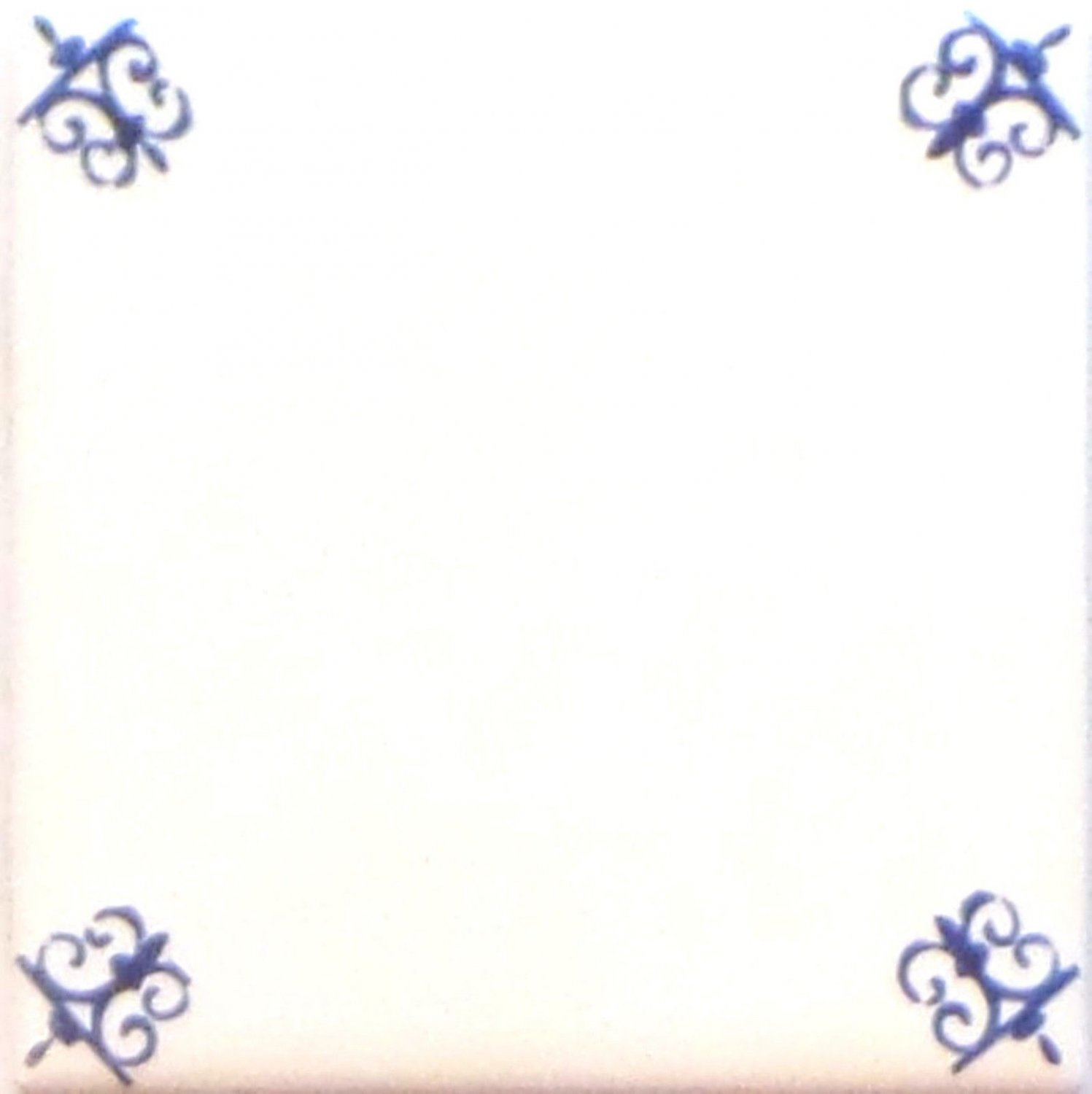 """Blue Double Ox Tail Ceramic Tile Accent to Kiln Fired Back Splash Delft Design 4.25"""""""