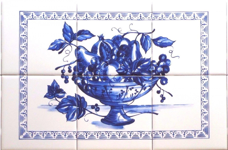 """Blue Fruit Ceramic Tile Mural 18"""" x 12"""" Kiln Fired Back Splash Delft Design Decor"""