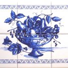 "Blue Fruit Ceramic Tile Mural 18"" x 12"" Kiln Fired Back Splash Delft Design Decor"