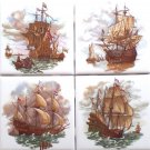 "Nautical Ceramic Tile Set of 4 kiln fired 4.25"" x 4.25"" Sailing Galleon Ships"