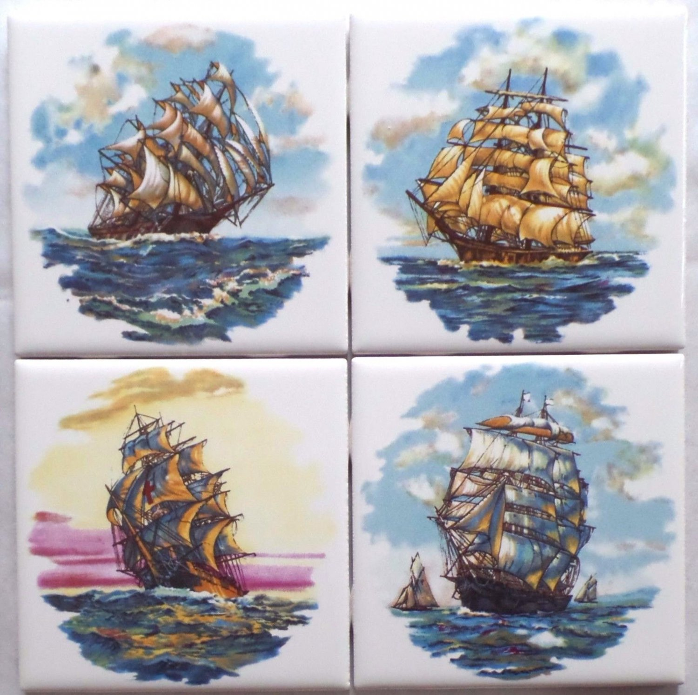 "Nautical Ceramic Tile Set of 4 kiln fired 4.25"" x 4.25"" Sailing Ships"