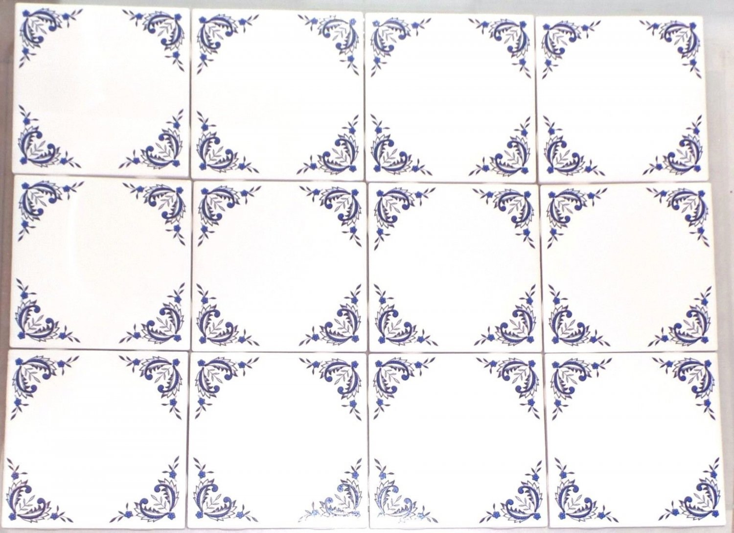 "12 pcs Blue Willow Ceramic 4.25"" Accent Tile Kiln Fired Decor Decorative Corners"