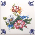 "Delft Design Flower with Blue Flower Corners Ceramic Tile 4.25"" x 4.25 Kiln Fired Decor"