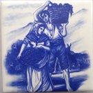 "Delft Theme Wine Makers Grape Ceramic Tile 4.25"" x 4.25"" Kiln Fired Decor #1"