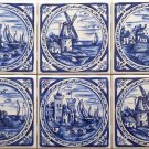 "Delft Blue Design set 6 Tiles House Castle Windmill Ceramic Tile 4.25"" Kiln Fired Decor"
