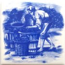 "Delft Wine Makers Grape Ceramic Tile 4.25"" x 4.25"" Kiln Fired Decor #2"