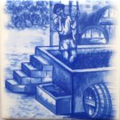 "Delft Theme Wine Makers Grape Ceramic Tile 4.25"" x 4.25"" Kiln Fired Decor #A"