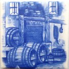 "Delft Theme Wine Makers Grape Ceramic Tile 4.25"" x 4.25"" Kiln Fired Decor #B"