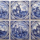 "Blue Delft Style Ceramic Tile 6"" x 6"" set of 6 Castle House Windmill Kiln Fired Decor"