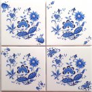 "Closeout 4 Blue Onion Delft Ceramic Tile #2 - 4.25""x 4.25"" Flower Kiln Fired Decor Kitchen"