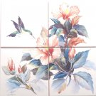 "Hummingbird Peach Color Hibiscus CERAMIC TILE MURAL 4 of 6"" X 6"""
