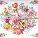 "Romantic Dove Bird Ceramic Tile Mural 6pcs 4.25"" x 4.25"" Kiln Fired Decor Pink"