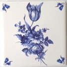"Blue Tulip Swansea Ceramic Tile with Corners 4.25"" x 4.25"" Kiln Fired Decor A"