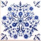 "Sienna Rose Blue and White Delft Design Ceramic Tile Center Inlay 4.25"" x 4.25"" Mottle Design"