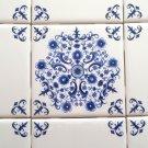 """Elegant 9 pc Blue Delft Design Ceramic Tile Inlay 4.25"""" x 4.25"""" Mottle Design"""
