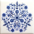 "Sienna Rose Tile Blue Delft Design Ceramic Tile Center Inlay 4.25"" Mottle Design 2"
