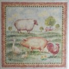 "Farm Scene Ceramic Tile Mural 12"" x 12"" Tile with 3 of 6"" x 6"" matching accent tiles"