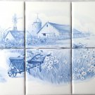 "Blue Farm Design Ceramic Tile Mural 6pcs of 4.25"" Kiln Fired Decor w corners"