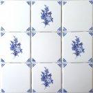 Blue Rose w Painted Corners Ceramic Tile Accents Kiln Fired Back Splash Design