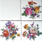 """Flower Ceramic Tile 3 of 4.25"""" x 4.25"""" Straw Flowers, Roses, Blue Forget Me 596"""