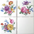 "Flower Ceramic Tile 3 of 4.25"" x 4.25"" Straw Flowers, Roses, and Blue Forget Me 555"