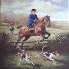 "Lady Horse Rider Fox  Hunt Scene 12"" x 12"" Kiln Fired Ceramic Tile Equestrian"