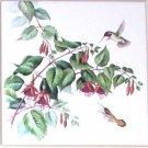 """Hummingbird Morning Hanging Flower Humming Bird Ceramic Tile 4.25"""" Kiln Fired"""