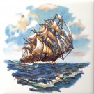"Sailing Ship #1 Ceramic Tile Accent Back Splash One 4.25"" x 4.25"""