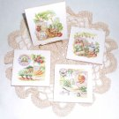 Garden Vegetable Ceramic Tile Coasters with full cork backs Set 4 Kiln Fired