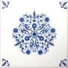 "Blue Sienna Rose Delft Style Ceramic Tile 6.00"" x 6.00"" Kiln Fired Back Splash"