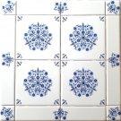 """Blue Sienna Rose Delft Style Ceramic Tile Mural 16"""" x 16"""" Kiln Fired Framed"""