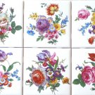 "Flower Ceramic Tile 6 of 4.25"" x 4.25"" Straw Flowers, Roses, Blue Forget Me 596"
