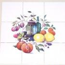 """Fruit with Lantern Ceramic 9pc 4.25"""" x 4.25"""" Tile Mural Kiln Fired Decor Lemons"""