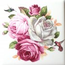"Hummingbird Rose Ceramic Tile with Corners 4.25"" x 4.25"" Kiln Fired Bird Decor"