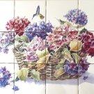 """Hydrangea Flower Hummingbird 12pc Mural Ceramic Tile 4.25"""" Kiln Fired BackSplash"""