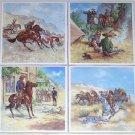 "Remington Series Ceramic Tile Horse Western Rider 4 of 4.25"" Kiln fired White tile"