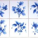 "Blue Design Delft Botanical Fruit Ceramic Tiles Kiln Fired Decor 4.25"" set of 6"