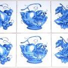 "Blue Delft Design Fruit Bowl Accts 6 / 4.25"" Ceramic Tile Mural Kiln Fired Decor"