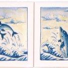"Dolphin Ceramic Tile Kiln Fired Back Splash Decor 6""x 6"" Fish Ocean Decor #2"