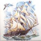 """Sailing Ship Ceramic tile 6"""" x 6"""" kiln fired back splash decor Pacific Monsoon"""
