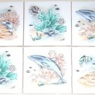 "Dolphin Ceramic Tile Mural Accent Coral Reef 4.25"" Kiln Fired Back Splash"