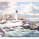 """Winter Light House Ceramic Tile Mural 12pc 4.25"""" x 4.25"""" Kiln Fired Back Splash"""
