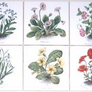 "Flower Ceramic Tile set of 6 / 4.25"" Poppies Morning Glories Kiln Fired Decor"