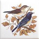 """Blue Bird Pair Song Bird Ceramic Tile 4.25"""" x 4.25"""" Kiln Fired Accent"""