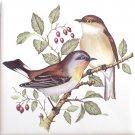 """Song Bird Pair White Belly Ceramic Tile 4.25"""" x 4.25"""" Kiln Fired"""