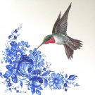 "Red Throat Hummingbird with Blue Ceramic 4.25"" Accent Tile Kiln Fired Decor"