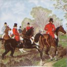 "Fox Hunt Horse Rider Scene Ceramic tile 6"" x 6"" kiln fired back splash decor #1"
