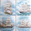 "Sailing Ships Nautical Ceramic Tiles size 6"" x 6"" Kiln Fired Decor"