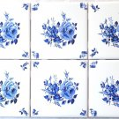 "Blue Rose Delft Design Ceramic Tile Kiln Fired 4.25"" Flower set of 6 Bud Corners"